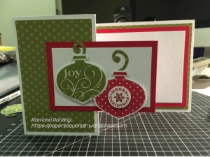 Real Red and Old Olive inks team up well for Christmas. I love mixing my old stamp sets with my new ones. 'Delightful Decorations' and 'Endless Wishes' are the stamp sets used in this card.